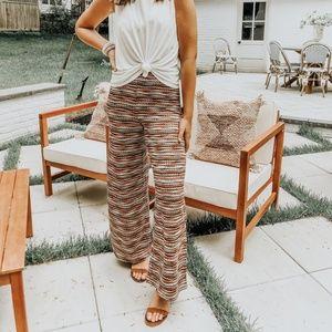 Striped Knit Flare Pants